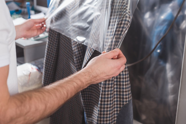 covering dry cleaned clothing